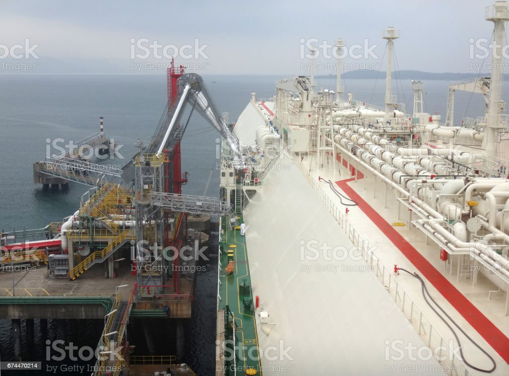 LNG loading arms for load/discharge LNG cargo of liquefied natural gas tanker stock photo