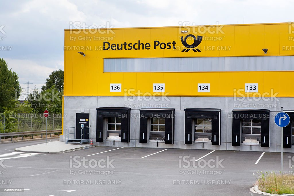 Loading bays, distribution hub of parcel service Deutsche Post stock photo