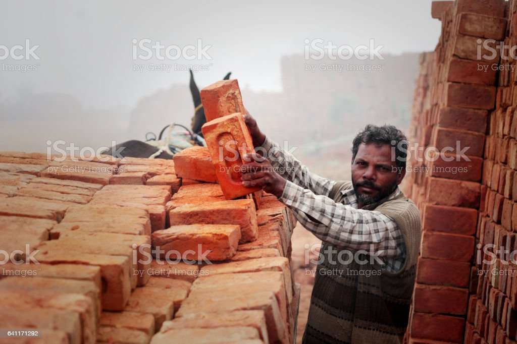 Loading bricks from the kiln stock photo