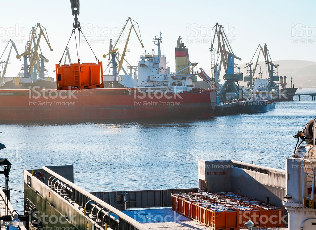 Loading cargo on board vessel at the port stock photo