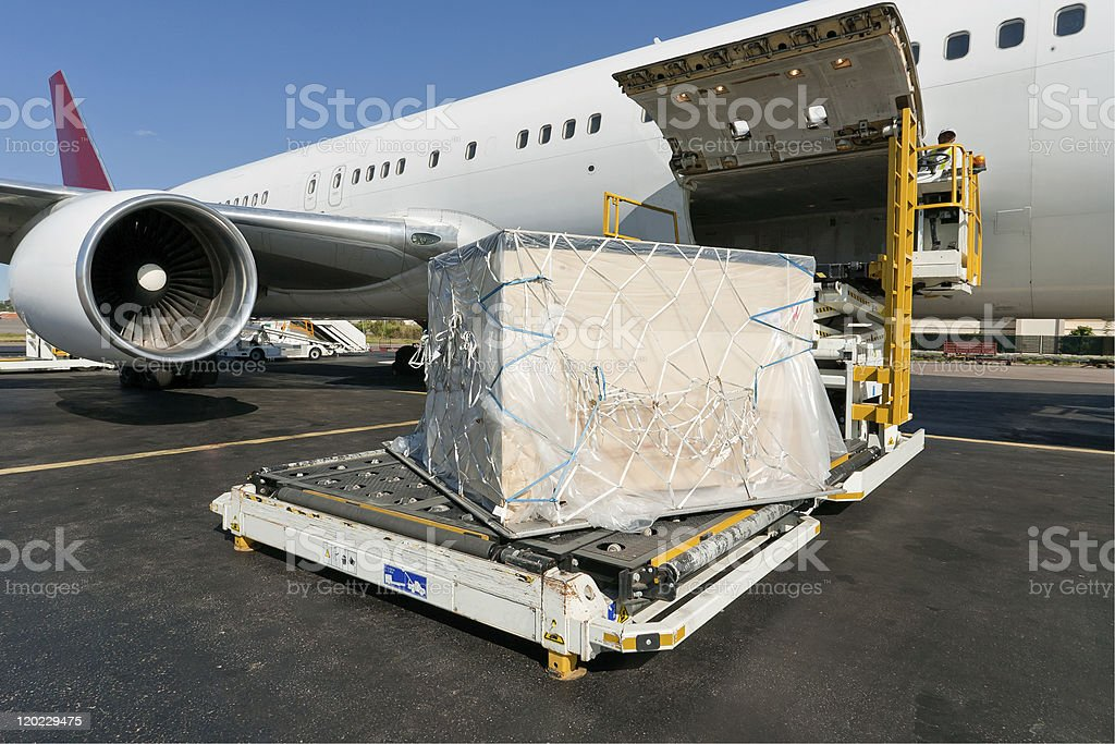 Loading cargo plane stock photo