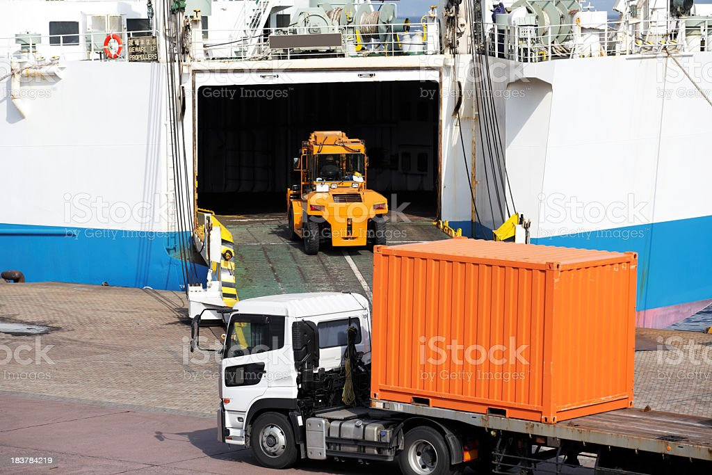 Loading cargo to ferry royalty-free stock photo