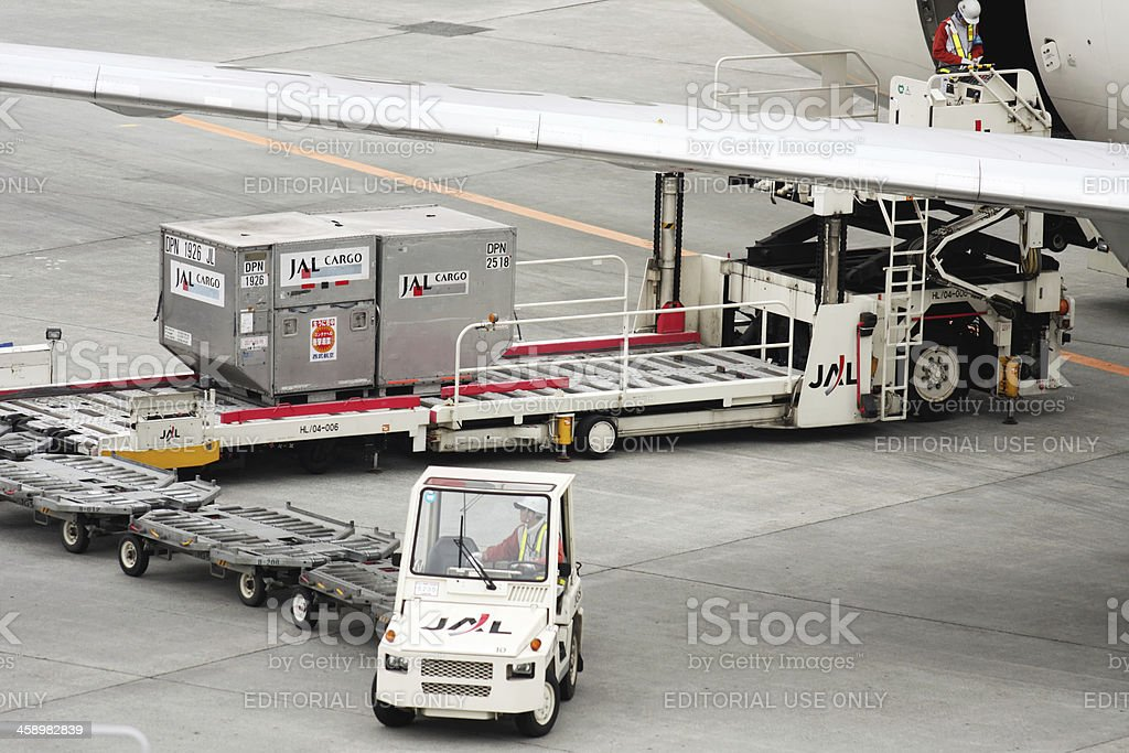 Loading cargo to JAL airplane royalty-free stock photo