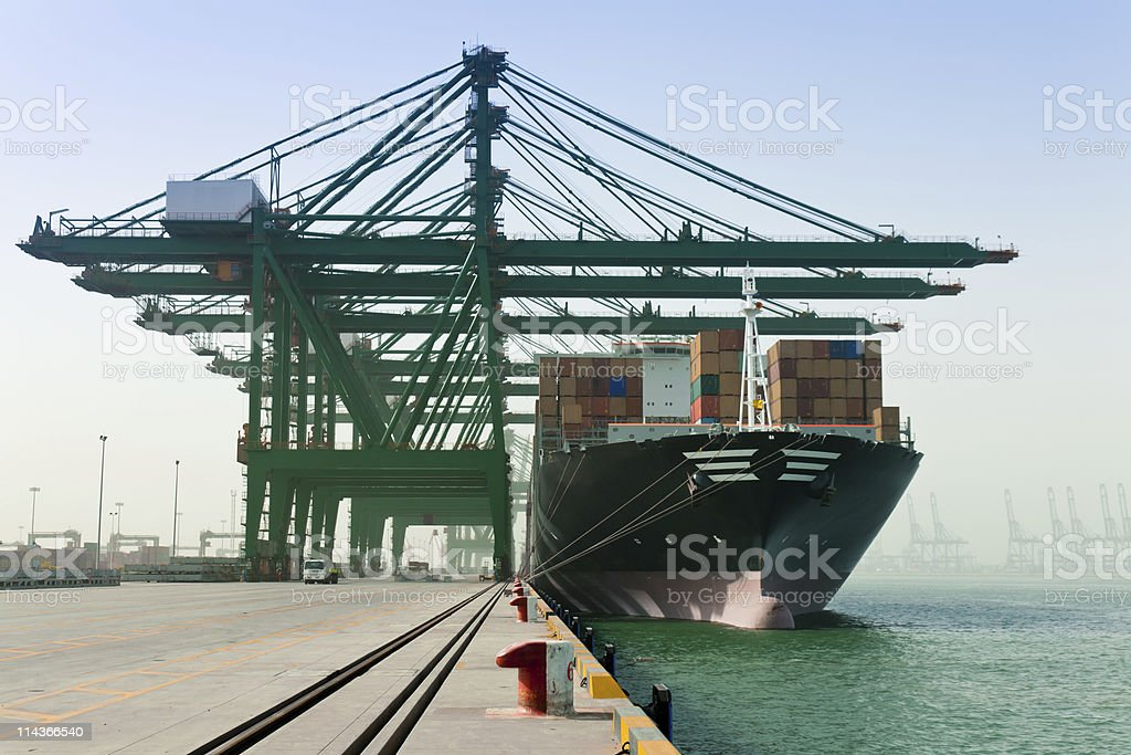 A loading container ship at the dock stock photo