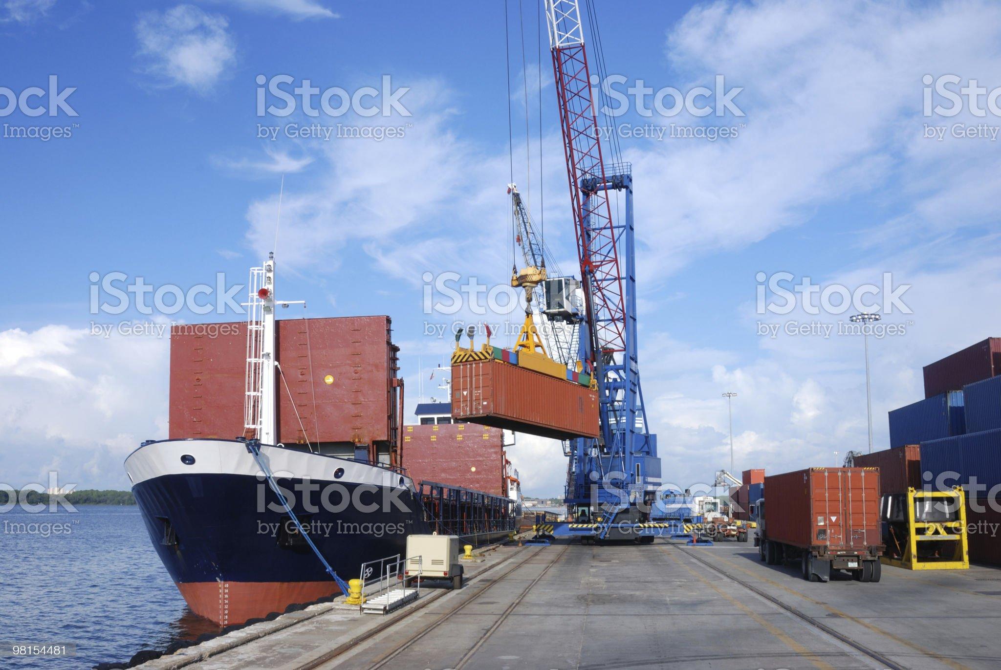 Loading Container Ship Port Panama City royalty-free stock photo