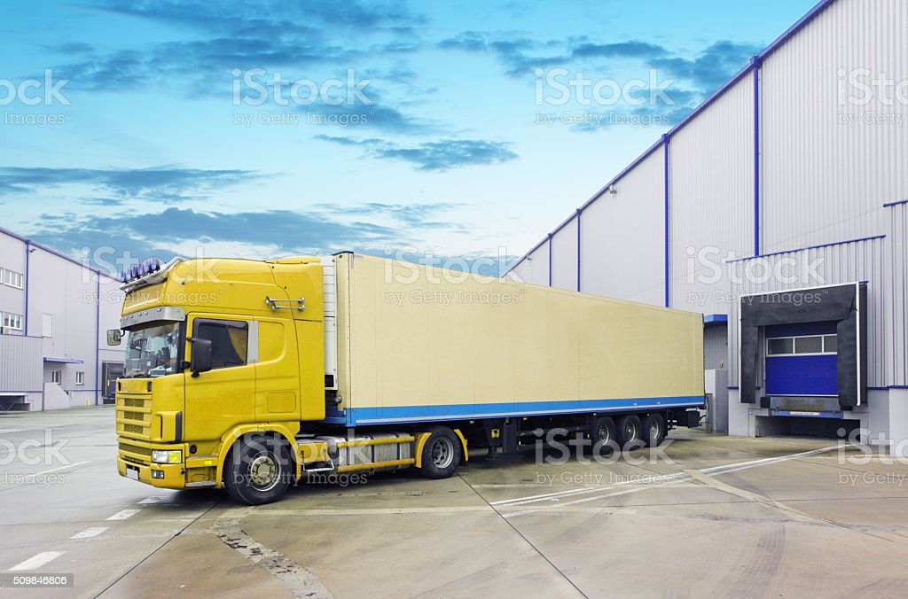 Loading docks with truck stock photo