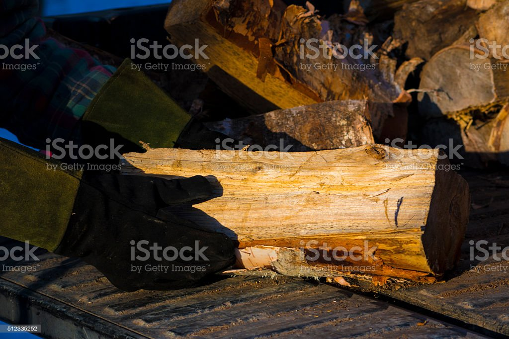 Loading Firewood 1 royalty-free stock photo