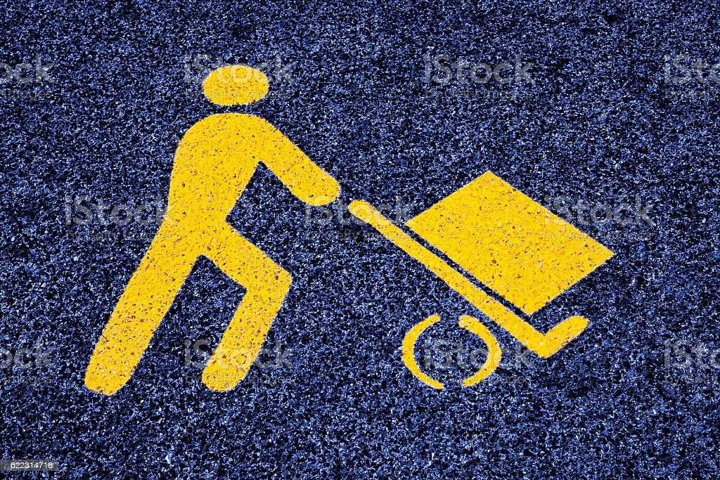 Loading goods urban symbol on asphalt road stock photo