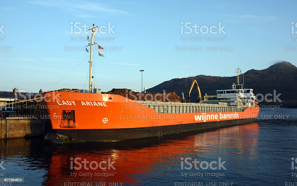 Loading Logs at Kyle of Lochalsh stock photo