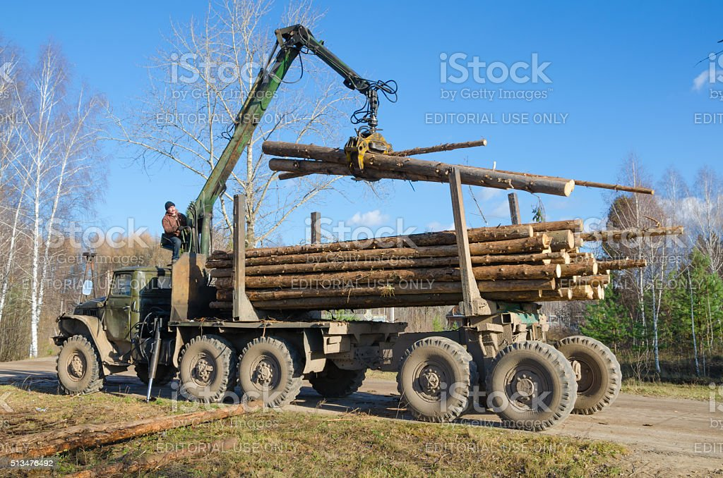 Loading logs onto a stack. stock photo