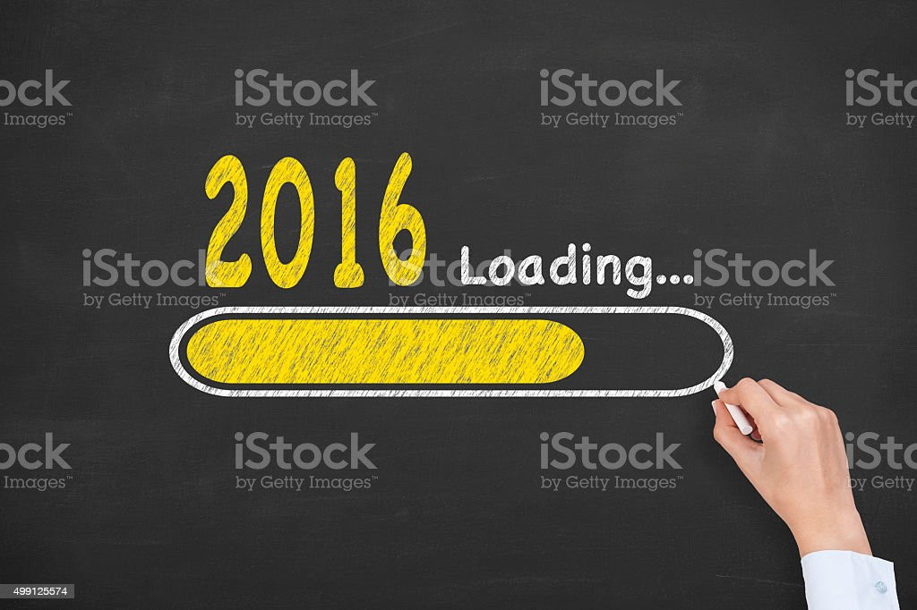 Loading New Year 2016 on Chalkboard stock photo