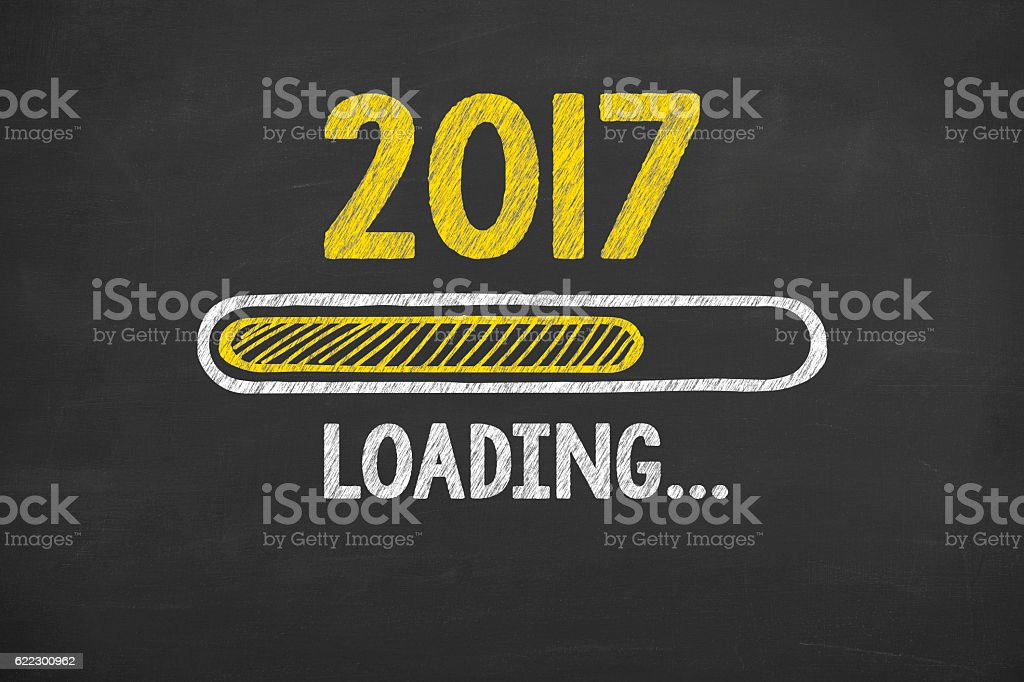 Loading New Year 2017 on Chalkboard Background stock photo