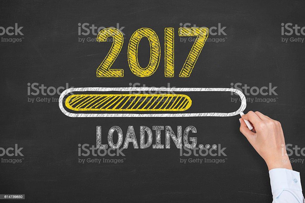 Loading New Year 2017 on Chalkboard Blackboard stock photo