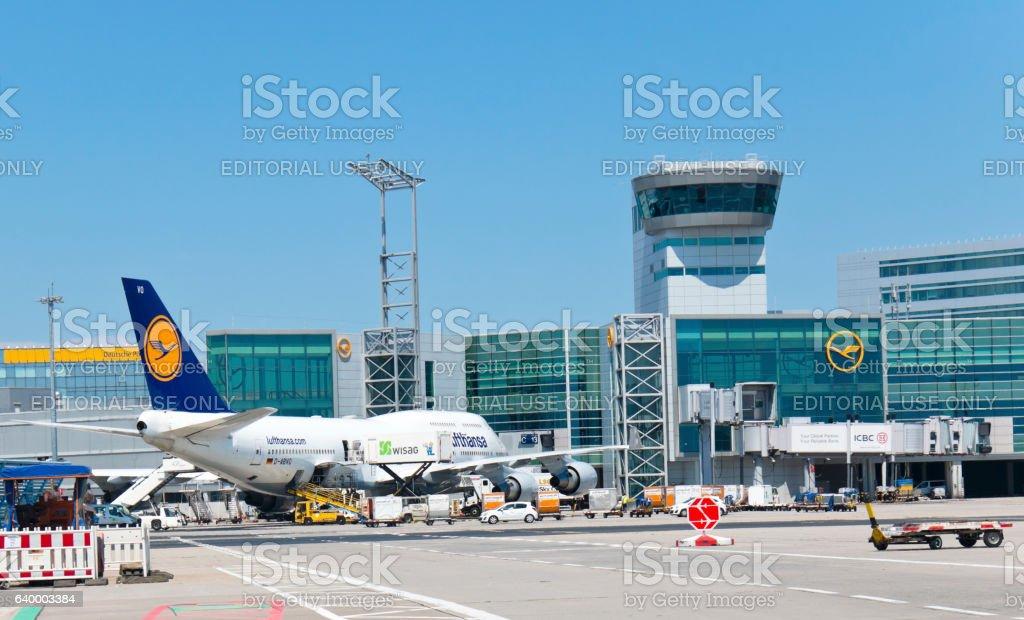 Loading of a 747 Jumbo Jet of Lufthansa Airline stock photo