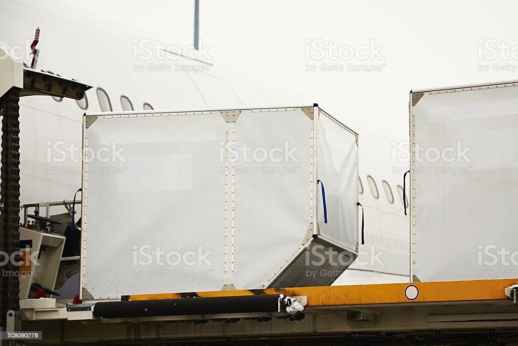 Loading of cargo stock photo
