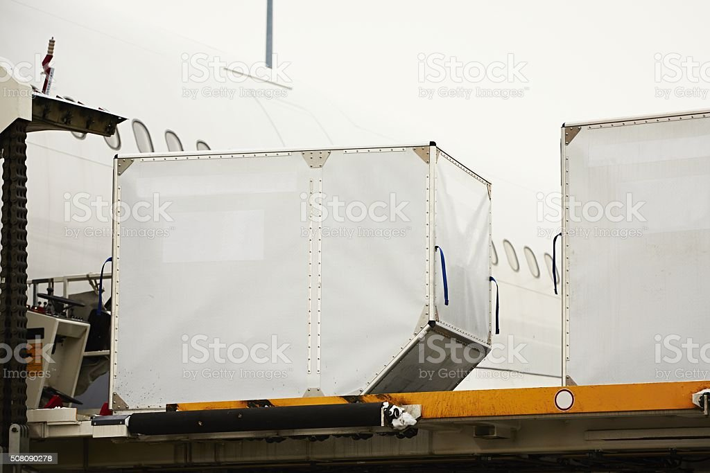 Loading of cargo stock photo