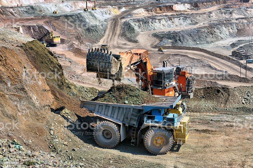 Loading of iron ore stock photo
