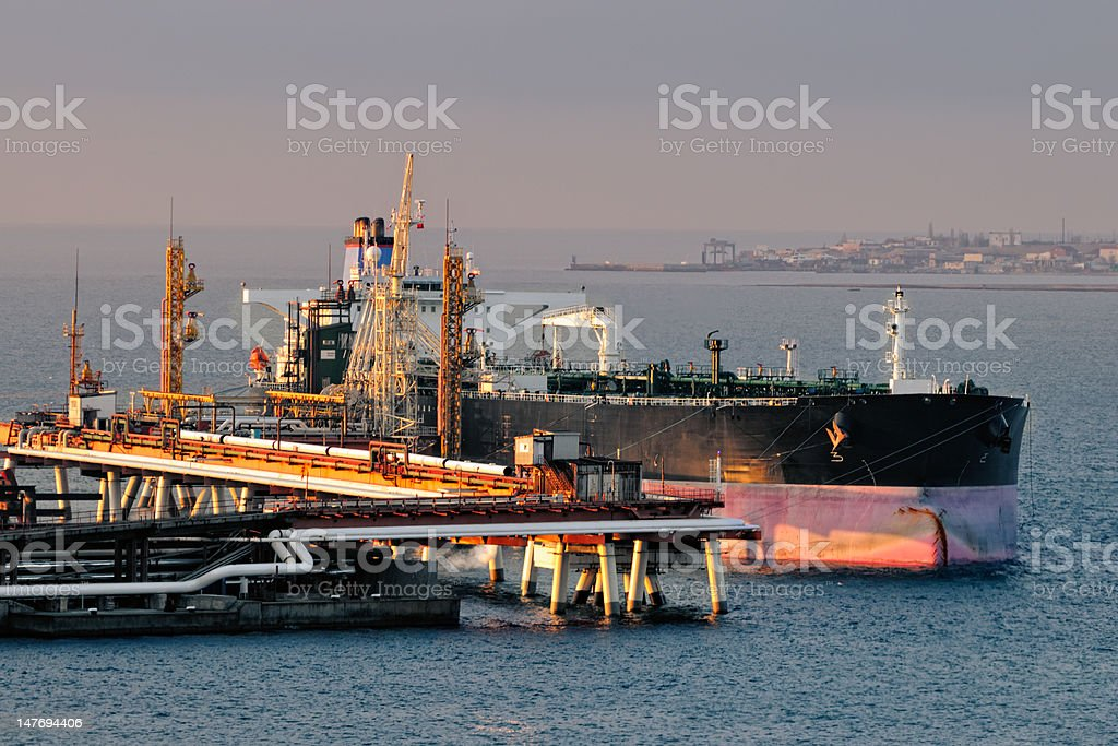 Loading oil supertanker royalty-free stock photo