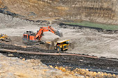 Loading Overburden on open pit coal mining