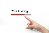 2017 loading Progress bar design with hand