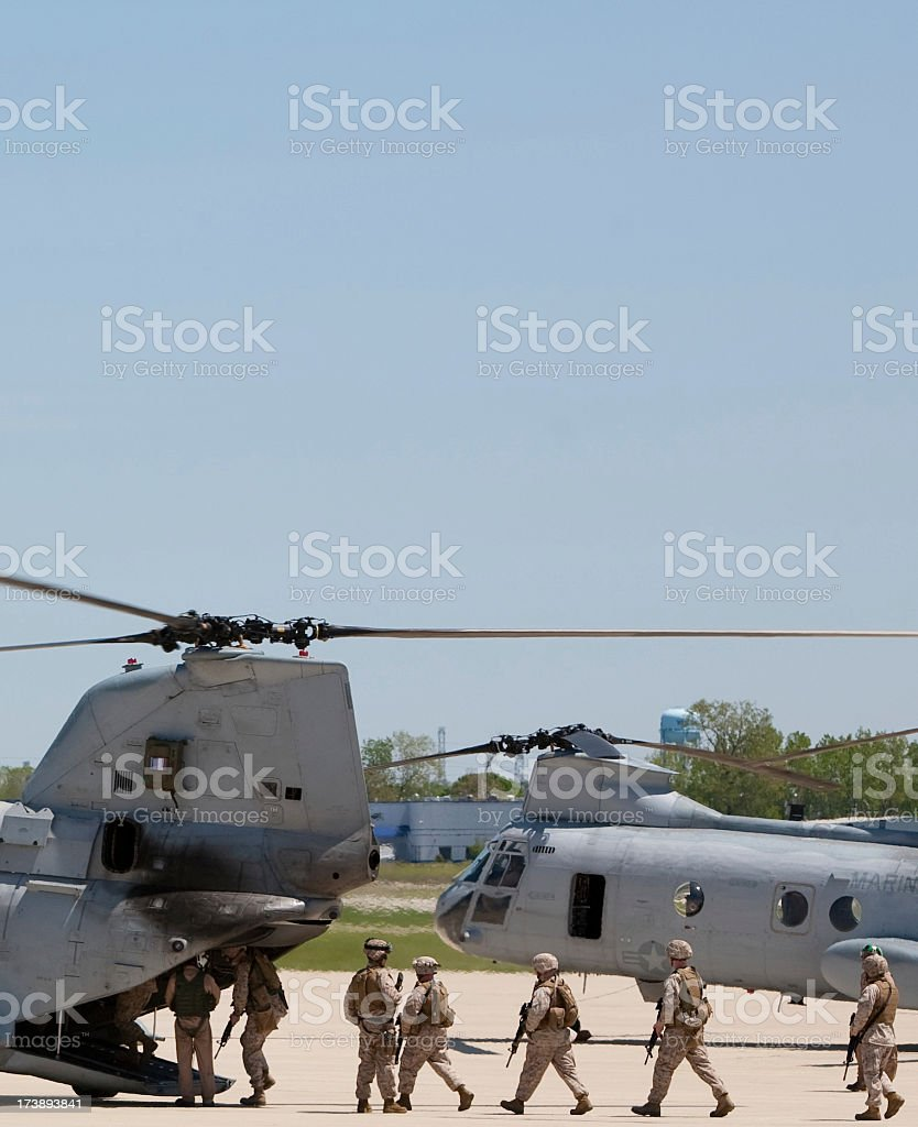loading up the chinook royalty-free stock photo