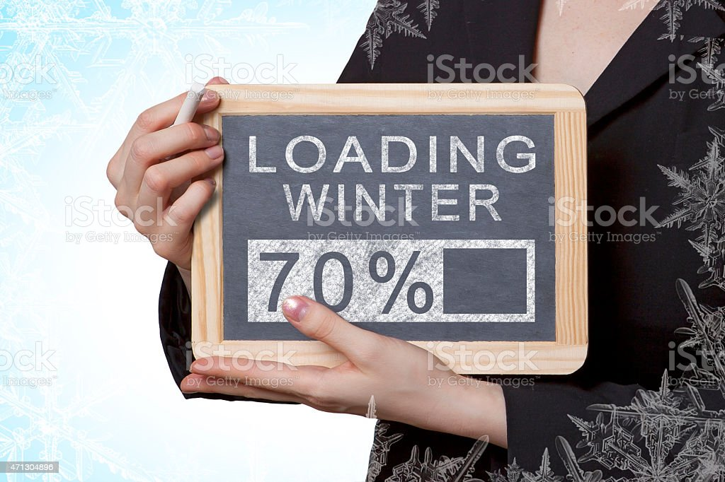 Loading winter black board stock photo