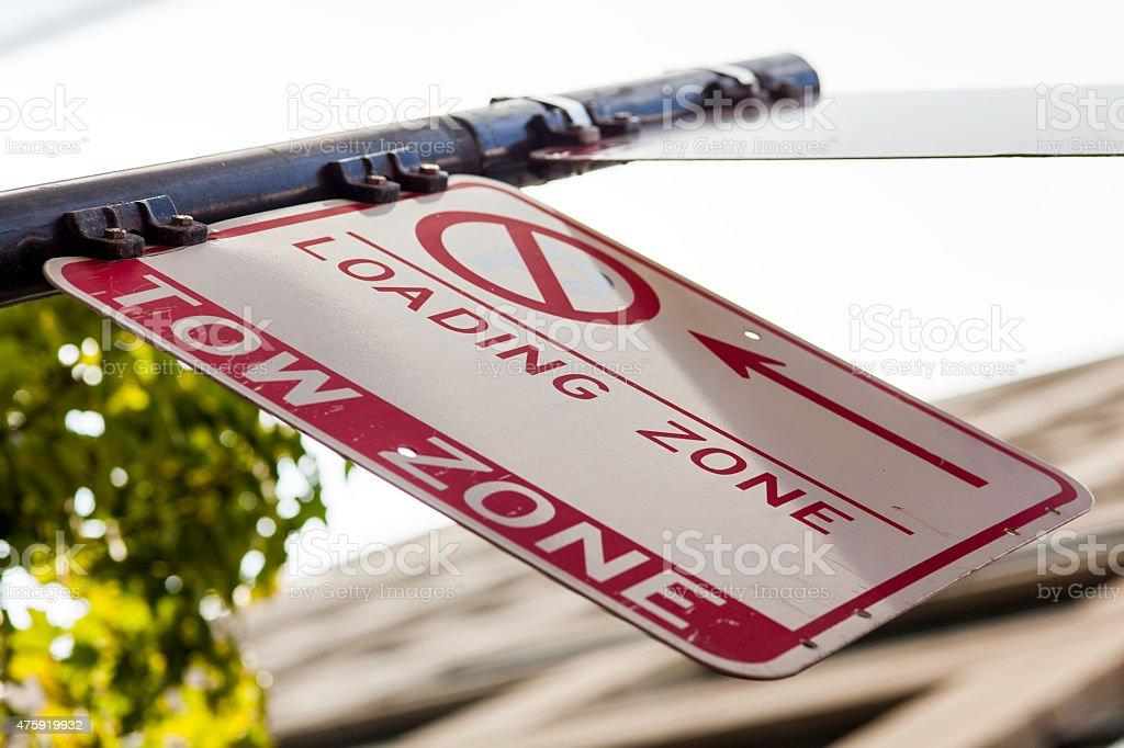 Loading zone sign stock photo