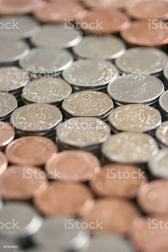 Loads of British coins royalty-free stock photo