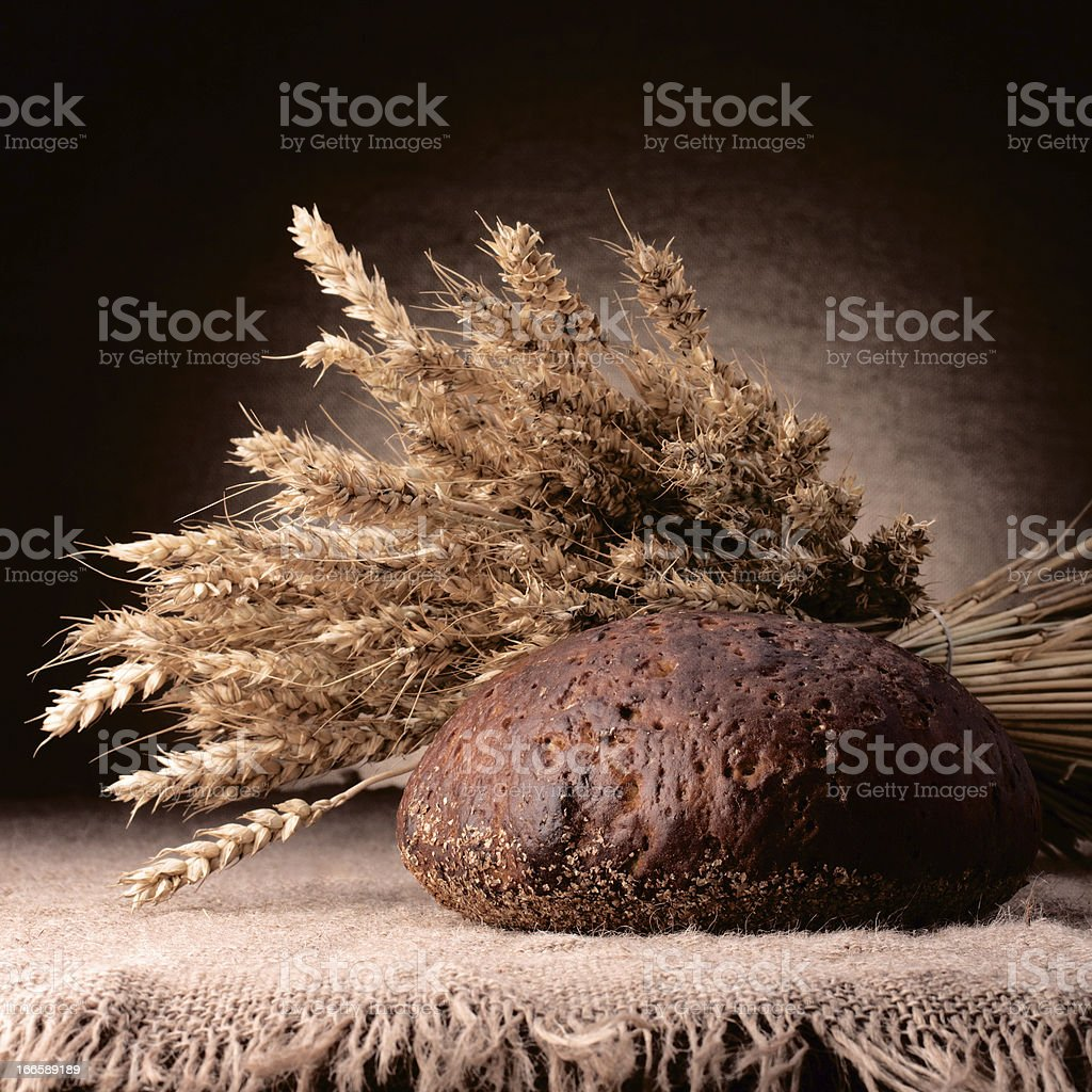 Loaf of bread and rye ears still life royalty-free stock photo