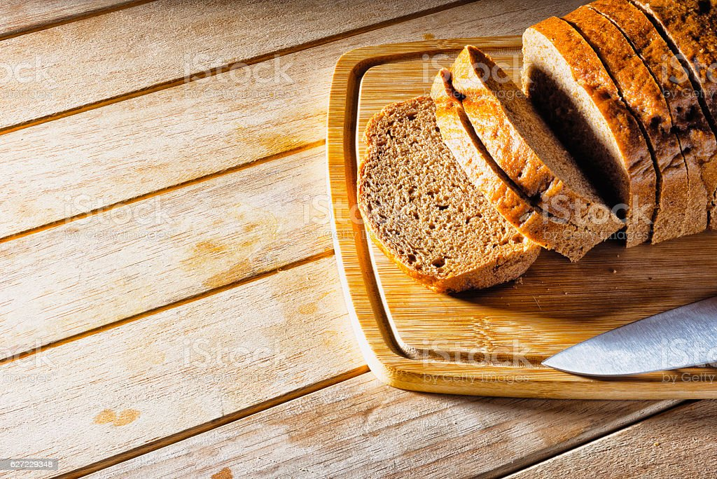 Loaf of bread sliced. stock photo