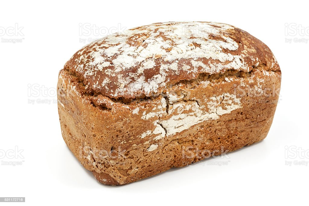 Loaf of brown bread  on white stock photo