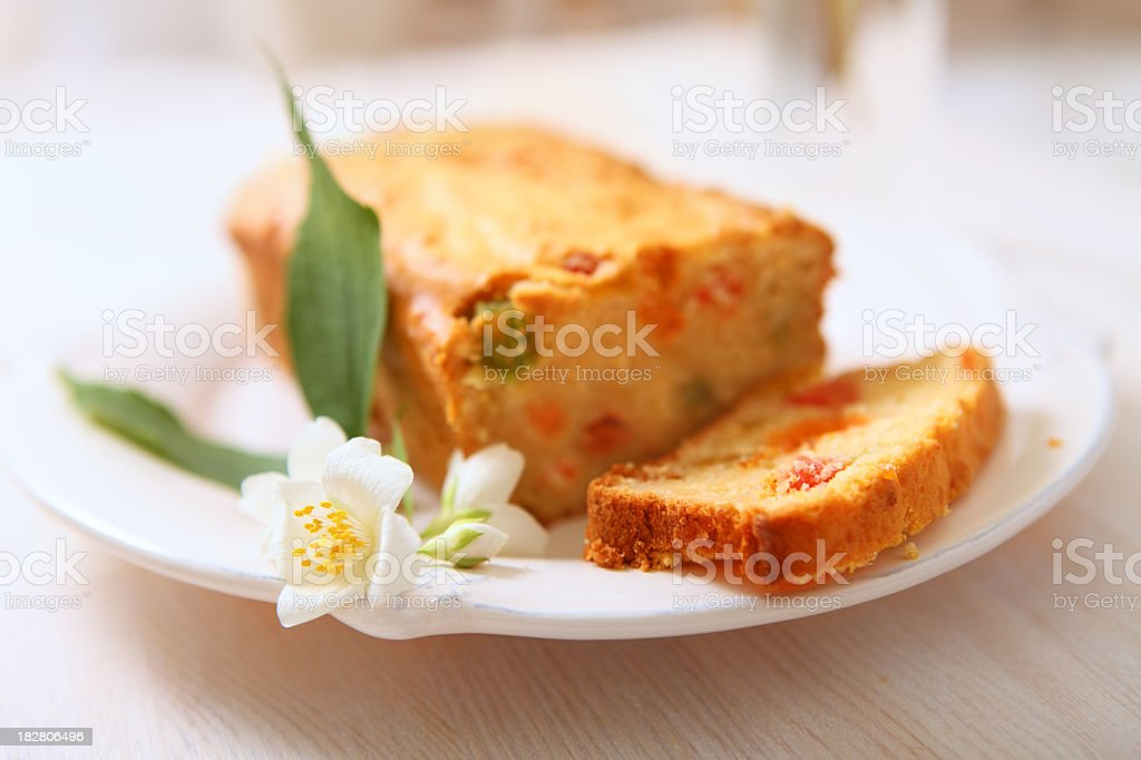Loaf of candied  fruitcake. royalty-free stock photo