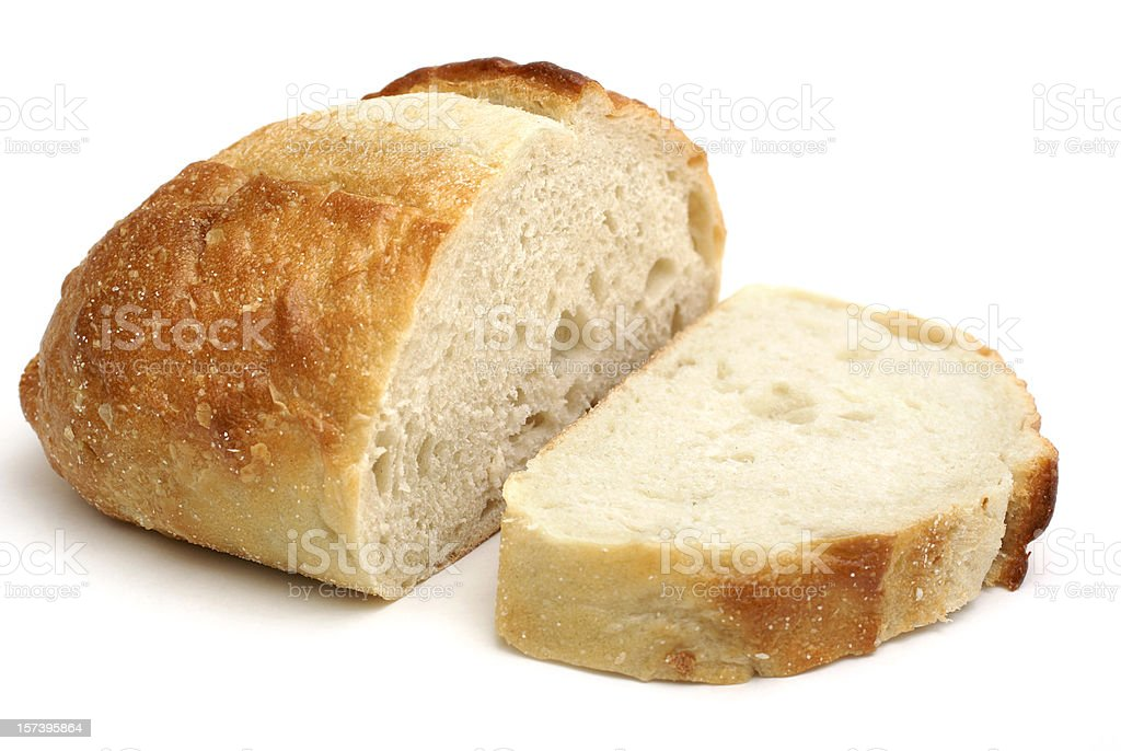 loaf of homemade bread stock photo