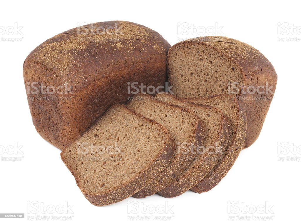 Loaf of rye bread with slices royalty-free stock photo
