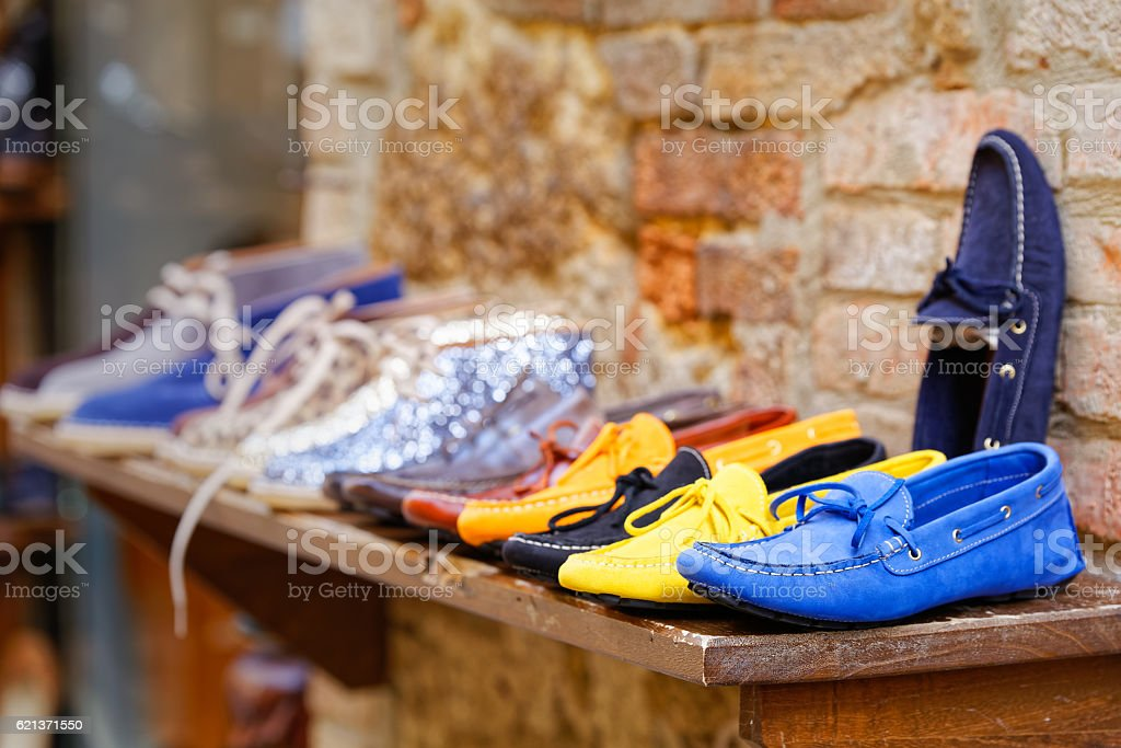 Loafers exposure craft in Pienza stock photo