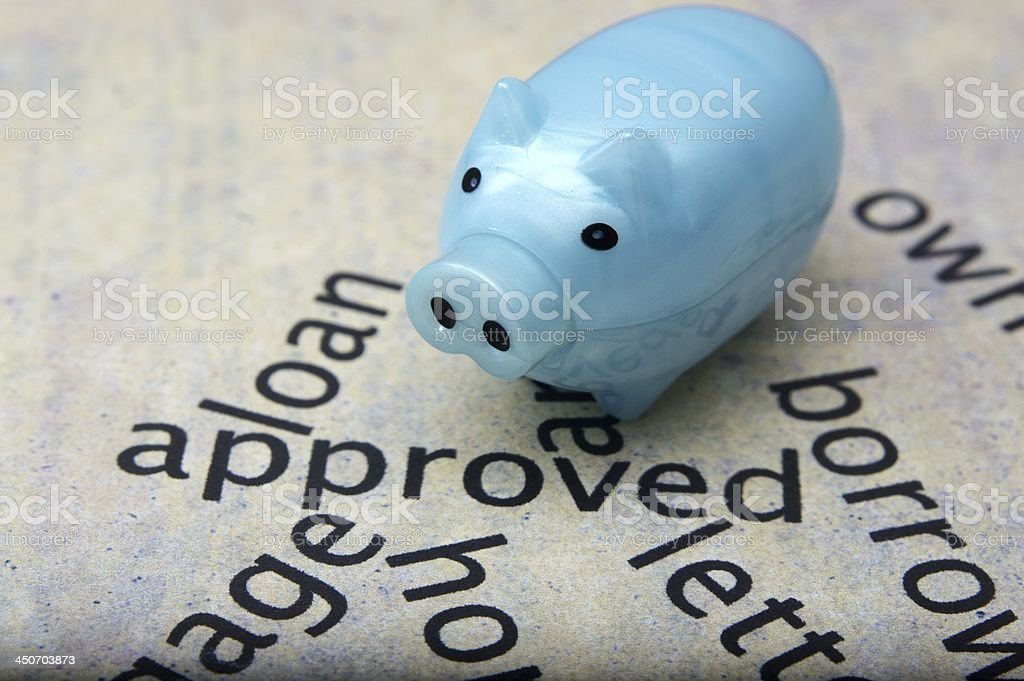 Loan approved and piggy bank royalty-free stock photo