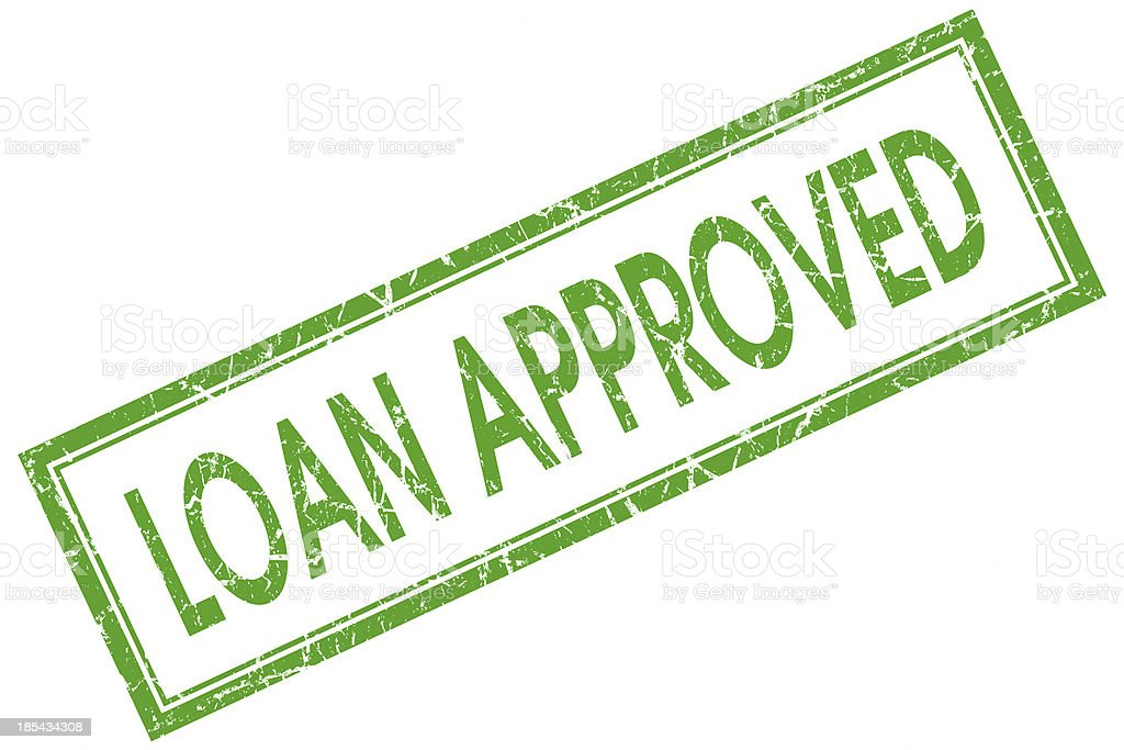 loan approved green square stamp stock photo