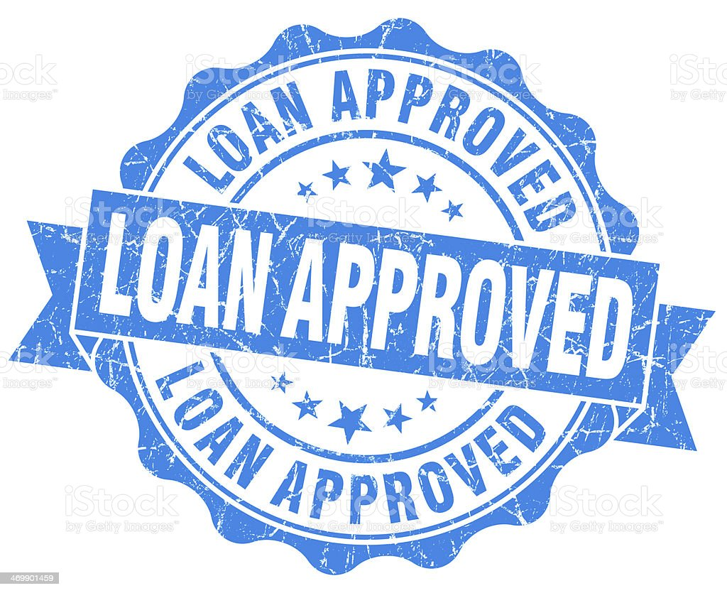 Loan approved grunge blue vintage round isolated seal stock photo