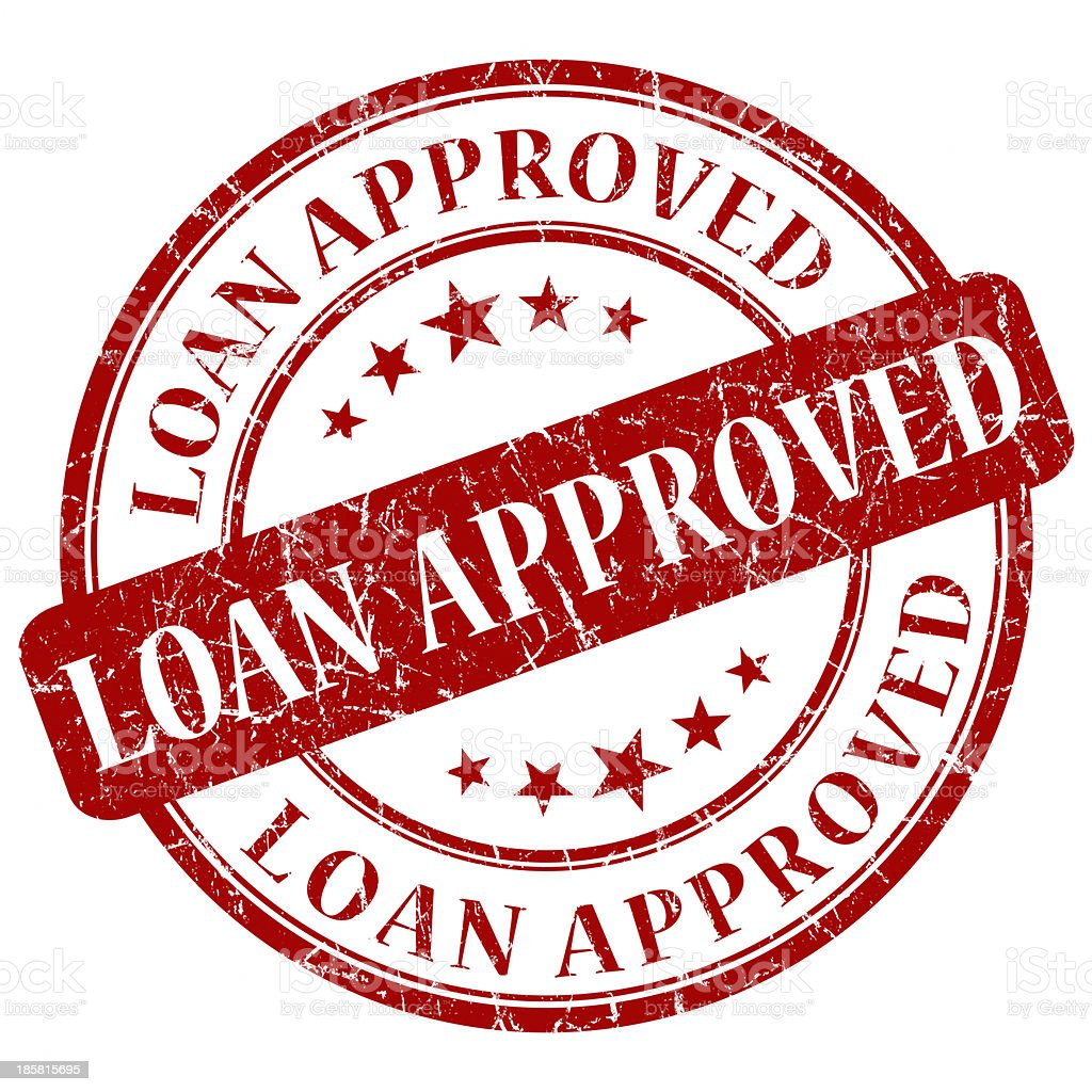 loan approved red round stamp vector art illustration