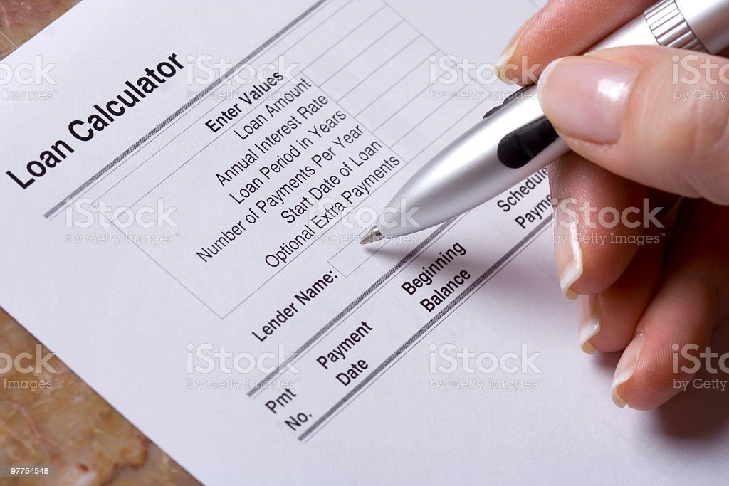 loan calculations stock photo