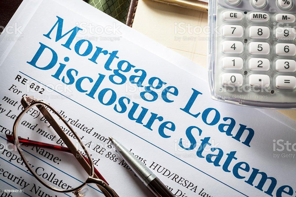 Loan Fee Discloosure stock photo
