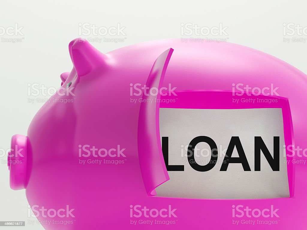 Loan Piggy Bank Means Money Borrowed Or Creditor stock photo