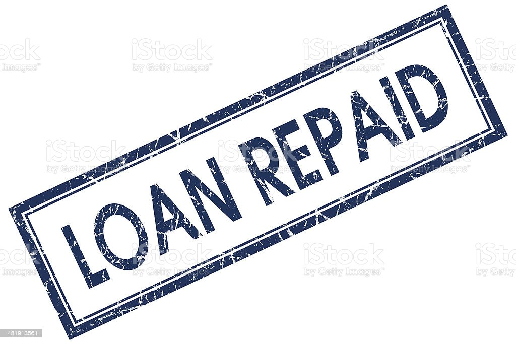 loan repaid blue square stamp stock photo