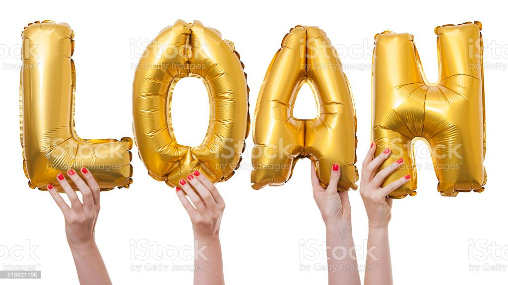 Loan word made from gold balloons stock photo