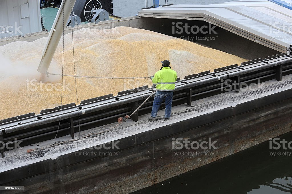 Loaning corn into a shipping hold stock photo