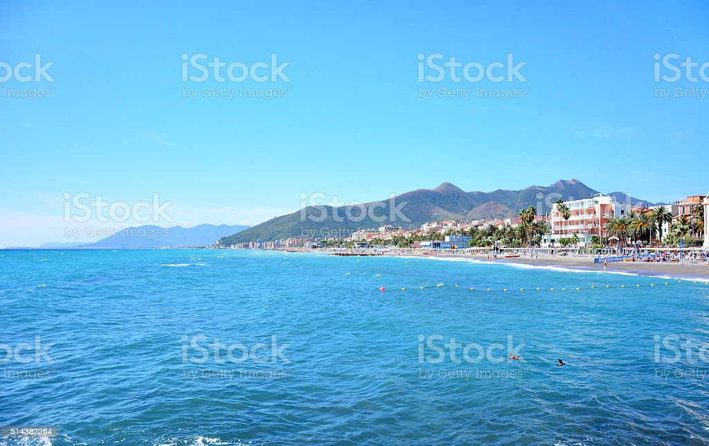 Loano town shore stock photo