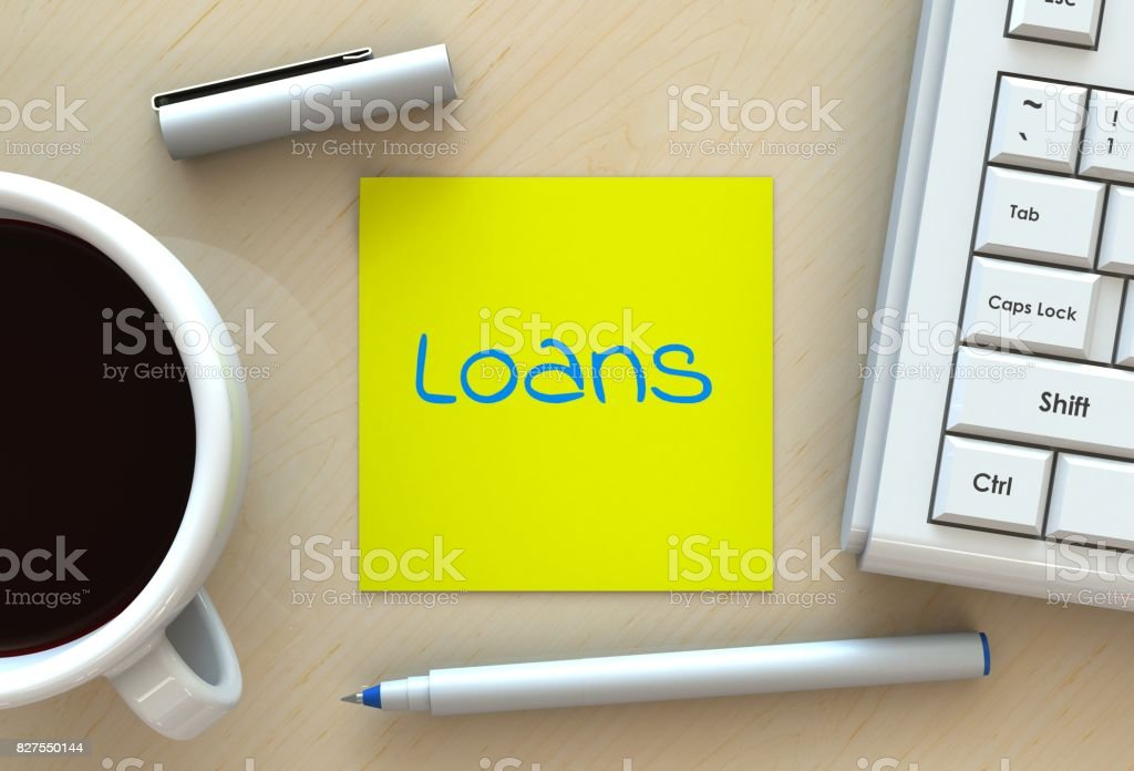 Loans, message on note paper, computer and coffee on table, 3D rendering stock photo