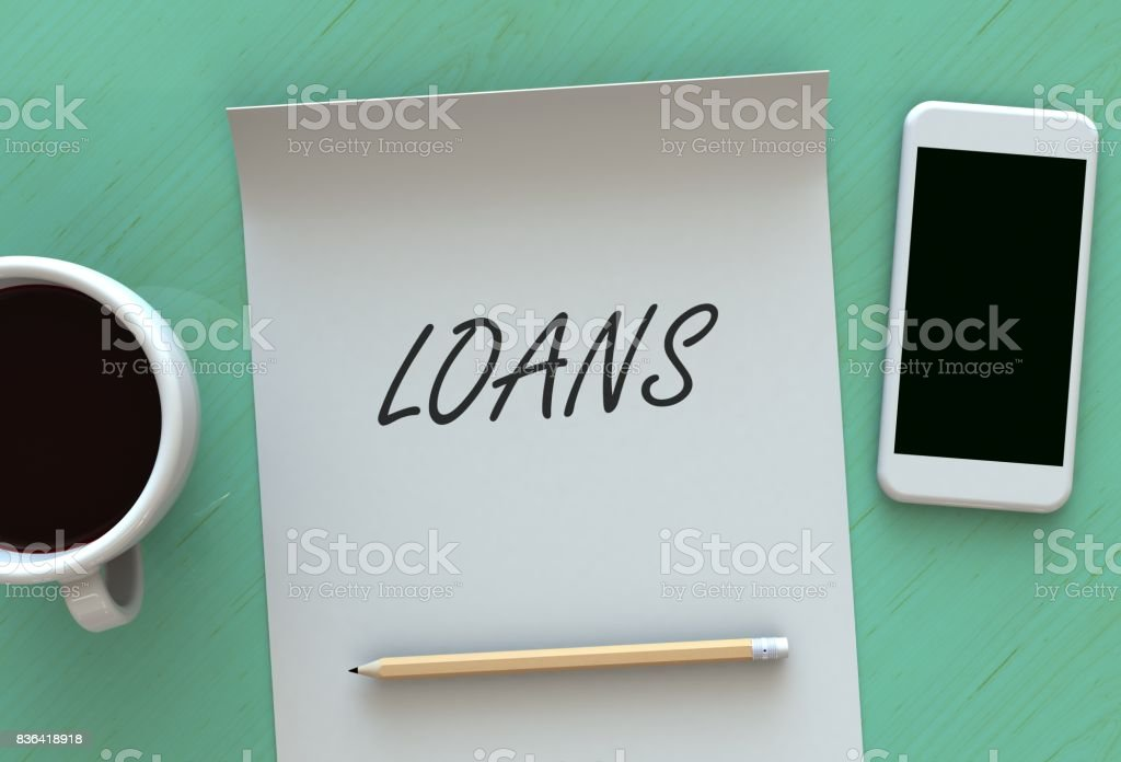 Loans, message on paper, smart phone and coffee on table, 3D rendering stock photo