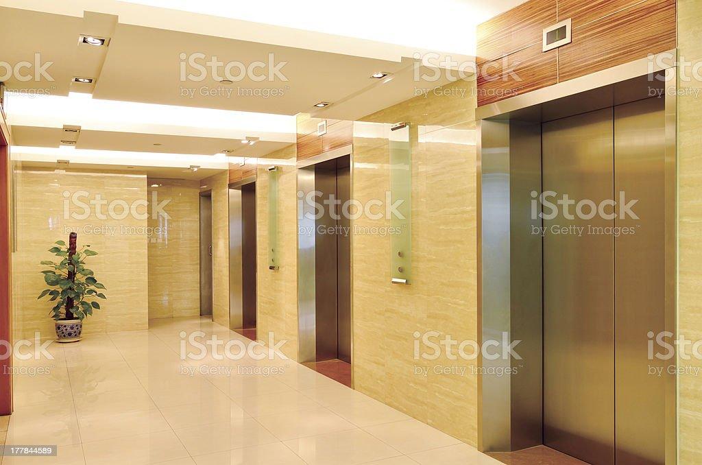 Lobby and elevators royalty-free stock photo