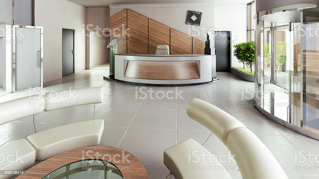 Lobby entrance with reception desk in a business center building stock photo